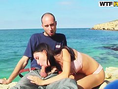 Aurita and her boyfriend have sex on the seaside