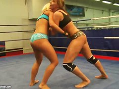 Andy Brown, Carla Cox and Nikky Thorne fighting at the ring for big neighbor's dick