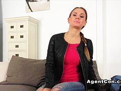 Bent over amateur babe banged on casting