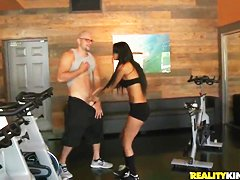 Young fit brunettes strip for some cash
