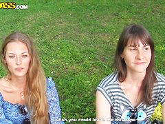 Outdoo sex scene with sexy Myra and her friend