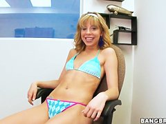 Cutie Chastity Lynn enjoys hard masturbation at the office