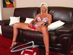 Stupid bitch Pamela uses the vacuum cleaner and vibrator for pleasure