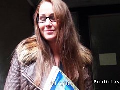 Amateur flashing breasts for cash in public