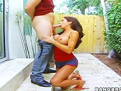 Milf Hunter Bryce sucks dick and gets covered with piss