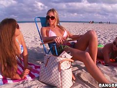 Hot gals hang out on the beach