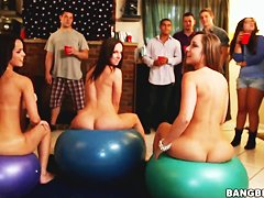 Experienced college chicks Dillion Harper, Jada Stevens and Remy Lacroix organized wild party